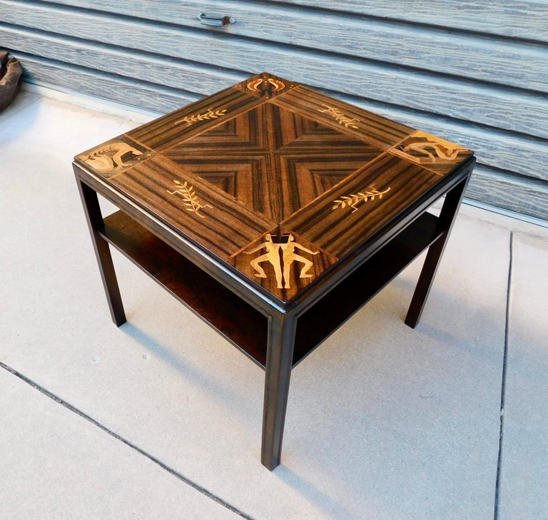 Swedish Art Deco Inlaid Zodiac Side Table in Walnut and Birch by Mjölby Intarsia In Good Condition For Sale In Los Angeles, CA