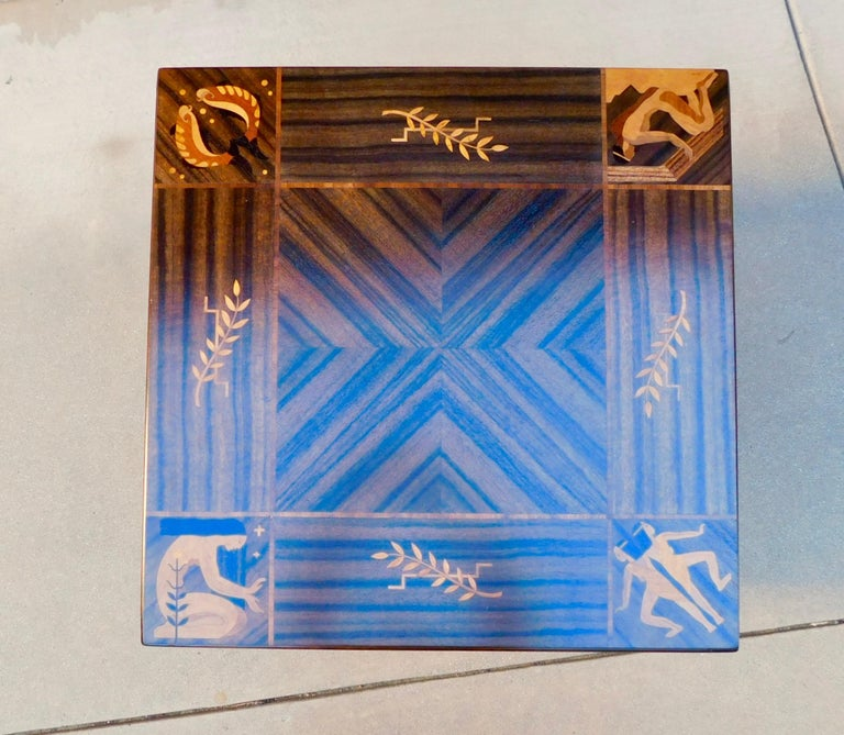 Mid-20th Century Swedish Art Deco Inlaid Zodiac Side Table in Walnut and Birch by Mjölby Intarsia For Sale