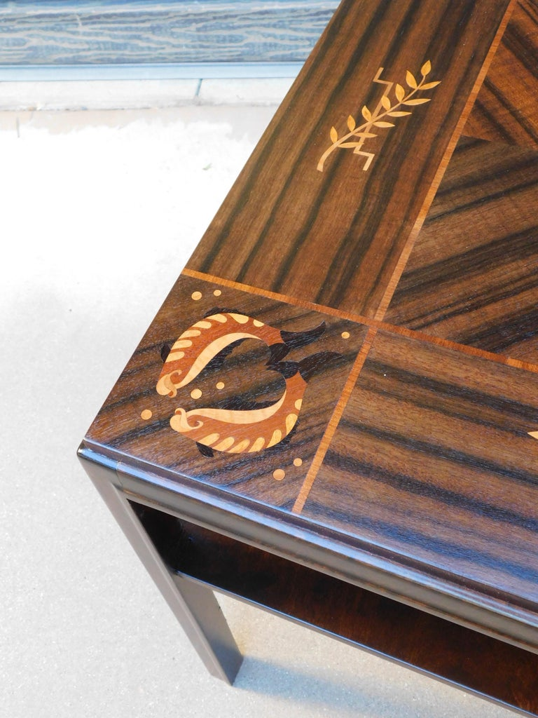 Swedish Art Deco Inlaid Zodiac Side Table in Walnut and Birch by Mjölby Intarsia For Sale 2
