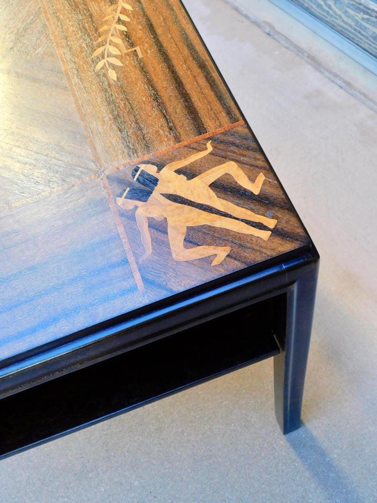 Swedish Art Deco Inlaid Zodiac Side Table in Walnut and Birch by Mjölby Intarsia For Sale 4