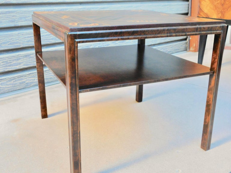 Swedish Art Deco Inlaid Zodiac Side Table in Walnut and Birch by Mjölby Intarsia For Sale 6