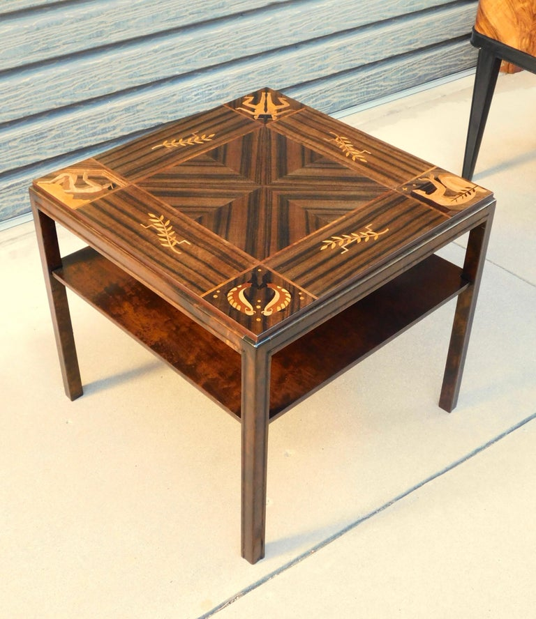 Swedish Art Deco Inlaid Zodiac Side Table in Walnut and Birch by Mjölby Intarsia For Sale 9