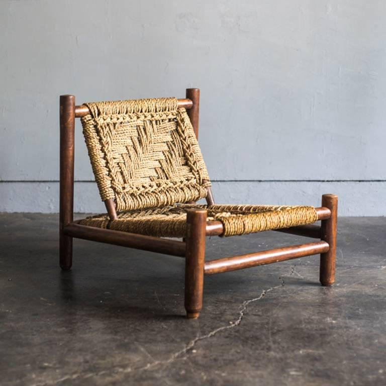 Set of an armchair and a low table by Adrien Audoux and Frida Minet.