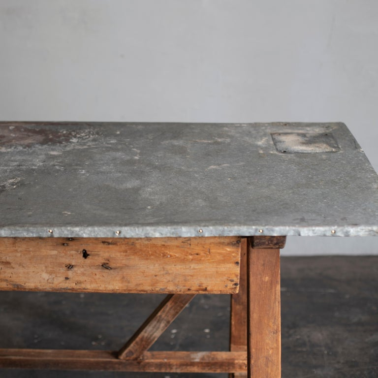 Industrial Zinc Top Primitive Working Table from Italy, 1870s For Sale