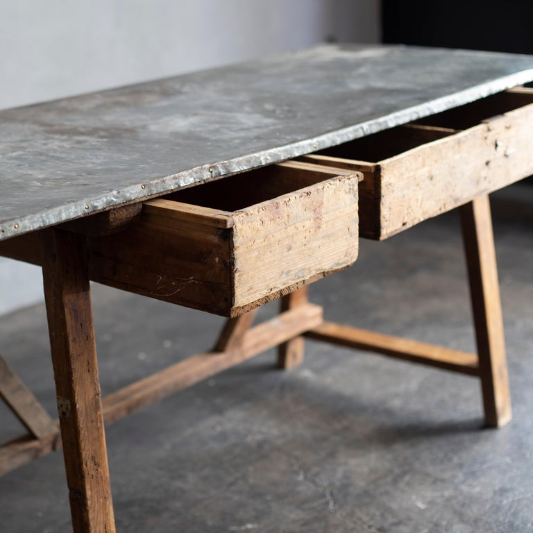 Italian Zinc Top Primitive Working Table from Italy, 1870s For Sale