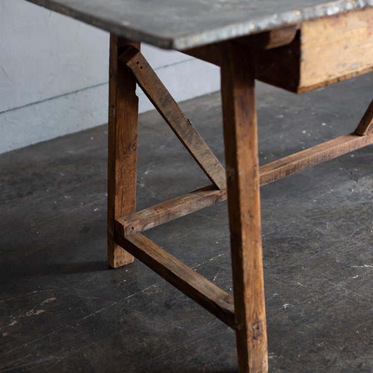 Metalwork Zinc Top Primitive Working Table from Italy, 1870s For Sale