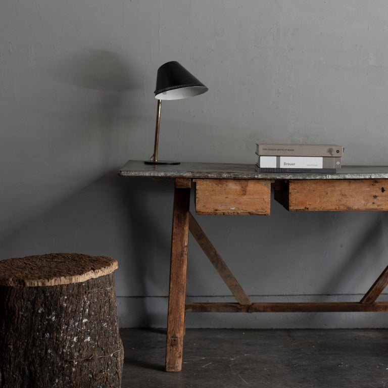 Zinc Top Primitive Working Table from Italy, 1870s In Fair Condition For Sale In Tokyo, JP