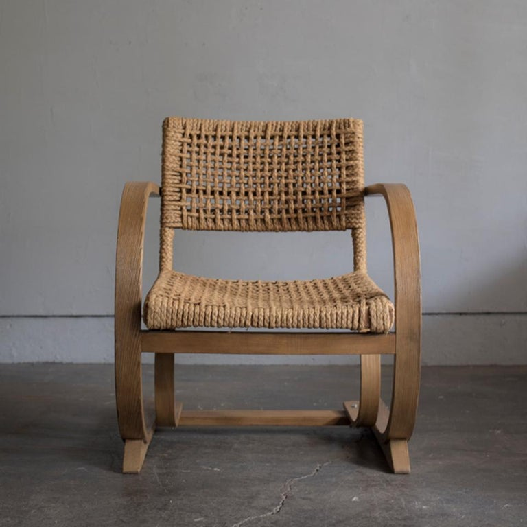 Bentwood and rope armchair by Audoux-Minet for Vibo, circa 1950. Very comfortable. Good condition.