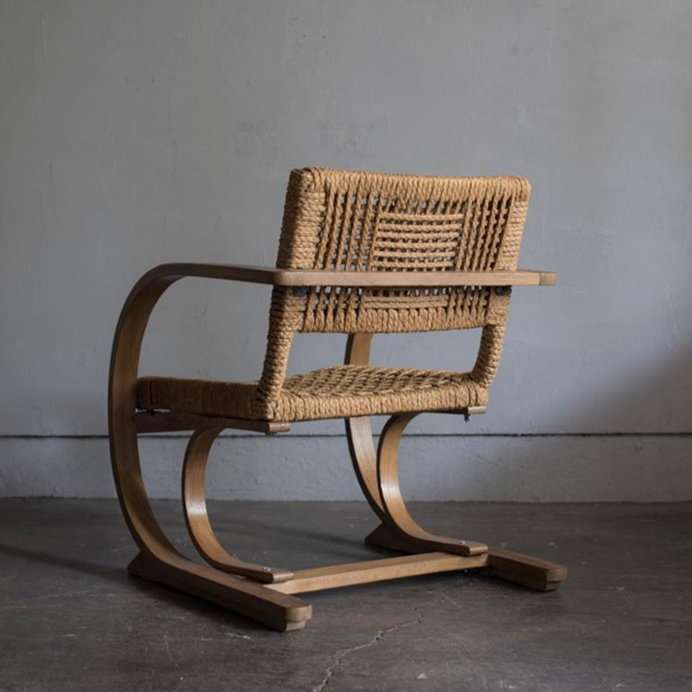 Mid-Century Modern Audoux-Minet Rope Armchair for Vibo, 1950s For Sale