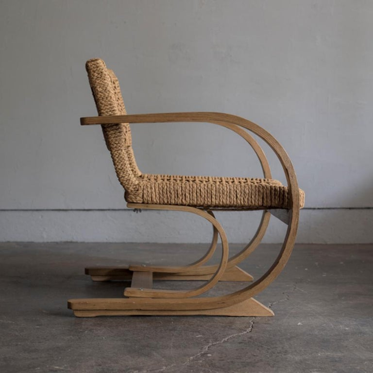 French Audoux-Minet Rope Armchair for Vibo, 1950s For Sale