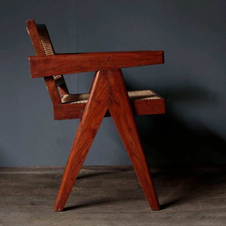 Mid-Century Modern Office Cane Chair in Sissoo by Pierre Jeanneret For Sale