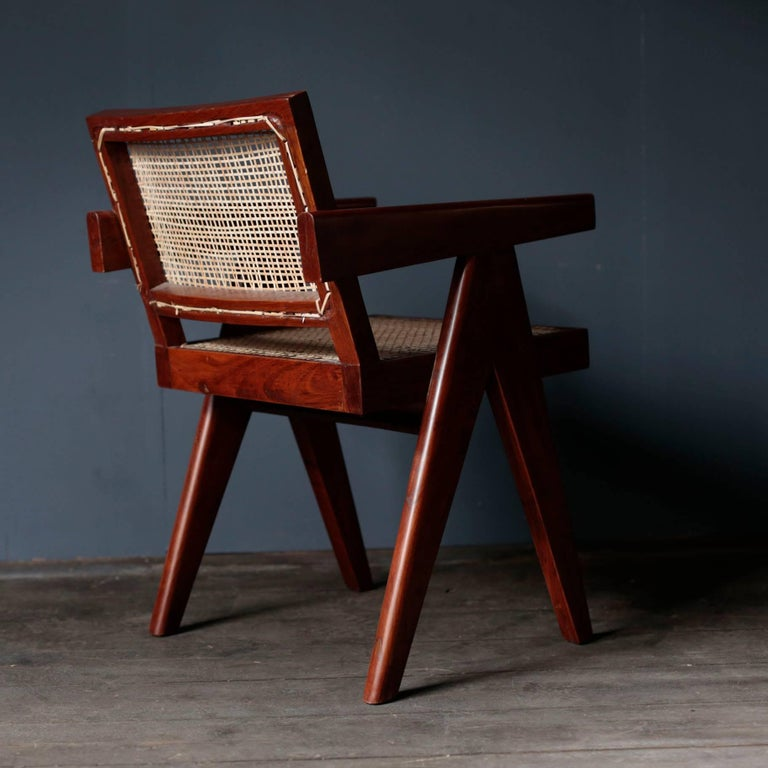 Indian Office Cane Chair in Sissoo by Pierre Jeanneret For Sale