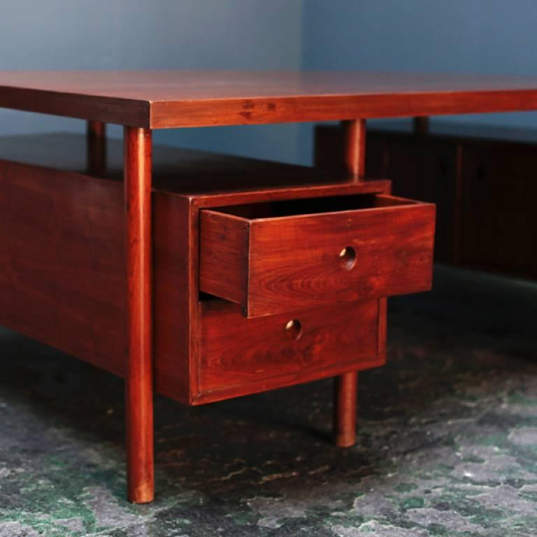 Indian Large Desk with Box on the Side by Pierre Jeanneret For Sale