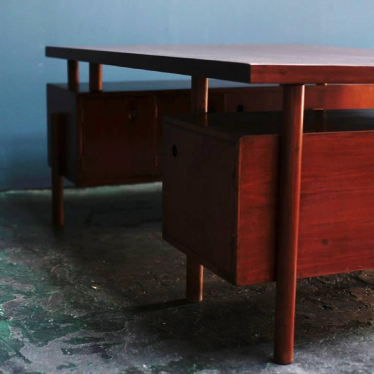 Mid-Century Modern Large Desk with Box on the Side by Pierre Jeanneret For Sale