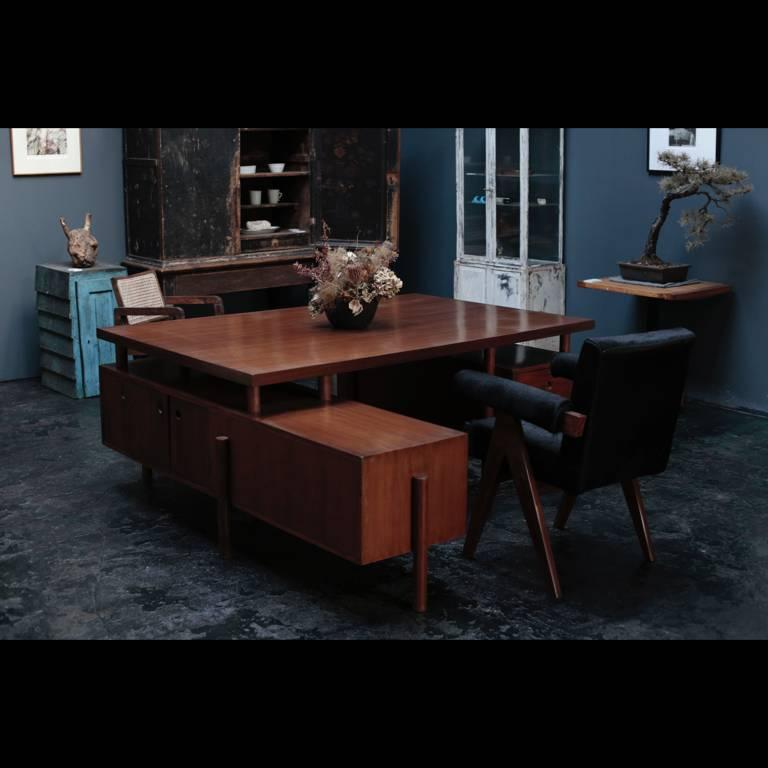 Teak Large Desk with Box on the Side by Pierre Jeanneret For Sale