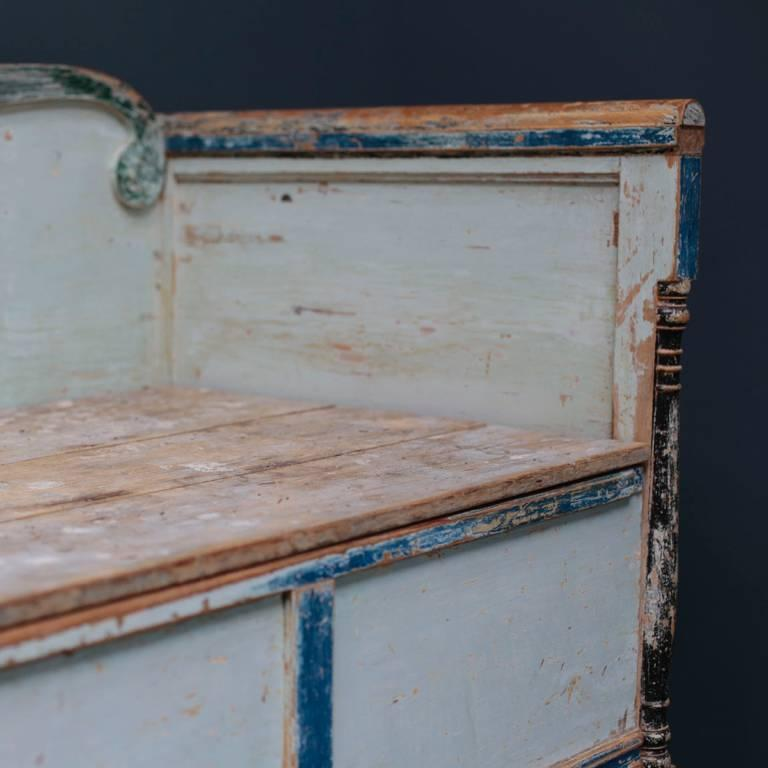 Early 19th Century Swedish Gustavian Bench with Blue Painted For Sale