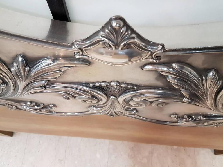 Baroque 20th Century Italian Sterling Silver Head Bed, baroque barocco revival For Sale