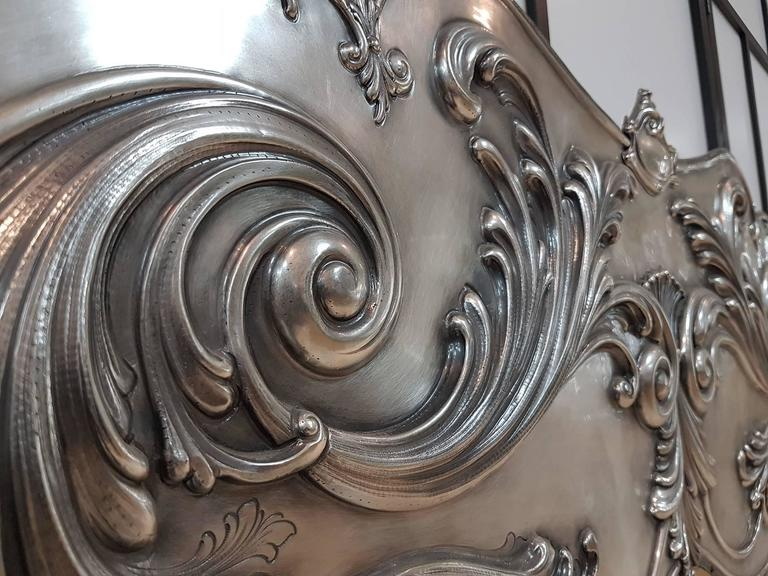 20th Century Italian Sterling Silver Head Bed, baroque barocco revival In Excellent Condition For Sale In VALENZA, IT