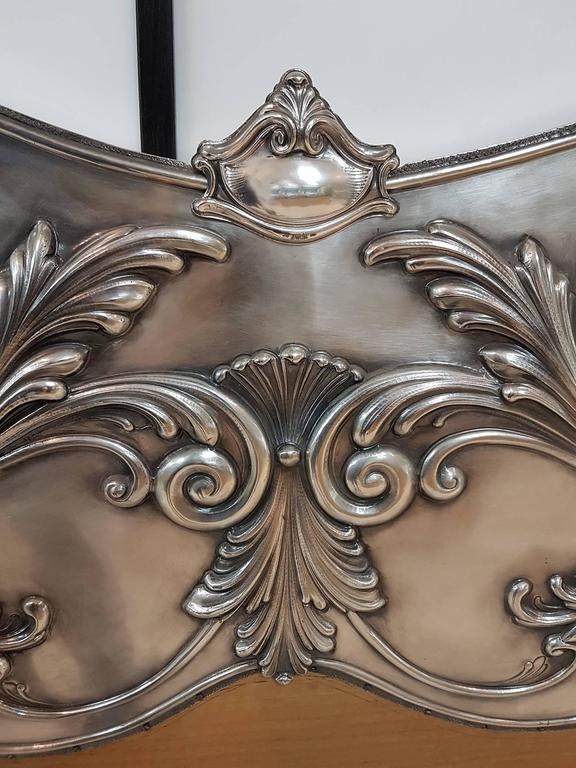 Late 20th Century 20th Century Italian Sterling Silver Head Bed, baroque barocco revival For Sale