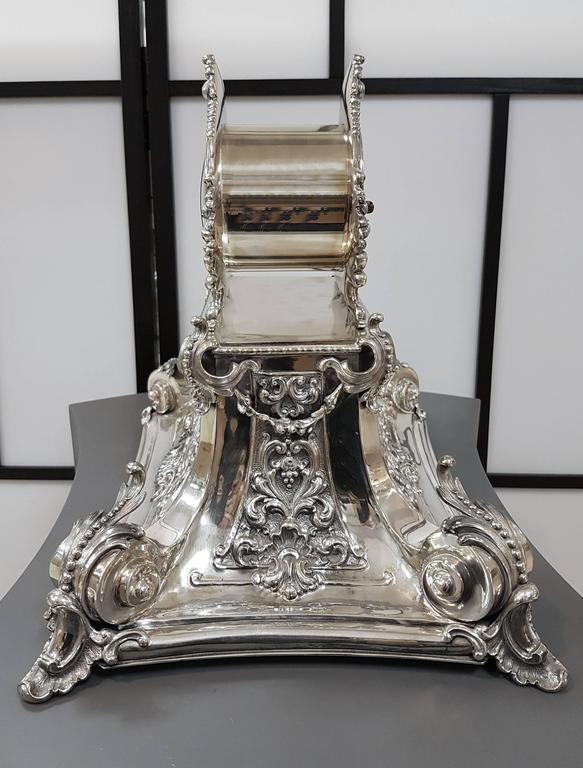 Baroque 20th Century Italian Silver Table Clock Barocco revival  For Sale