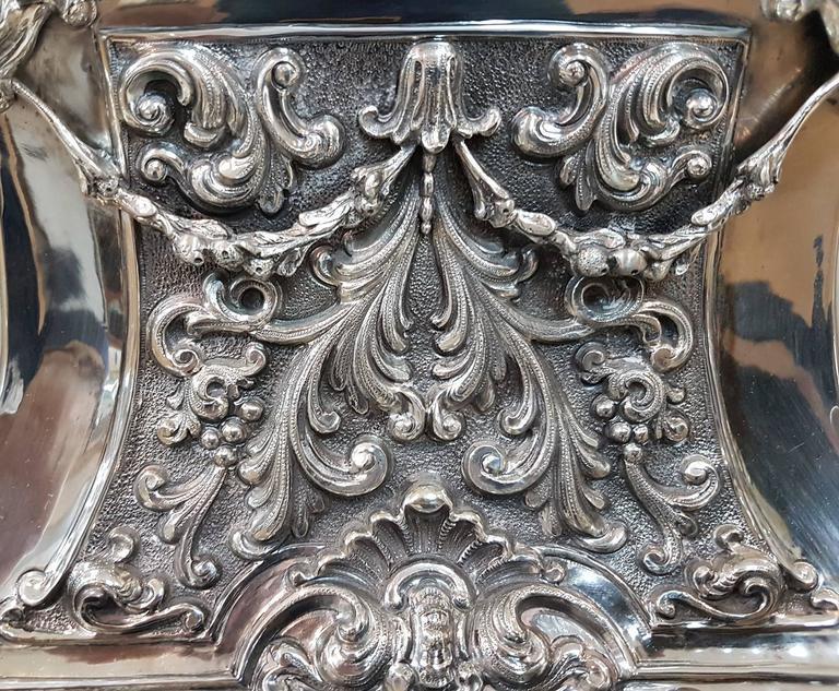 20th Century Italian Silver Table Clock Barocco revival  For Sale 13