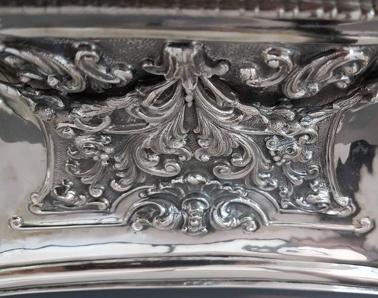 20th Century Italian Silver Table Clock Barocco revival  For Sale 12