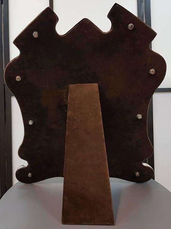 20th Century Italian Silver Baroque Revival Table Mirror,  Velvet Back  For Sale 3