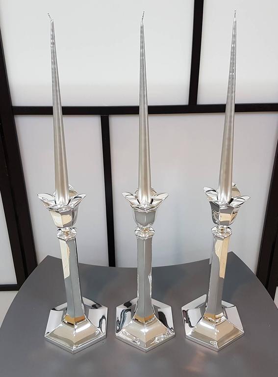 20th Century 20th century Set of Three Italian Silver Exagonal  Candlesticks. Fully Handmade For Sale