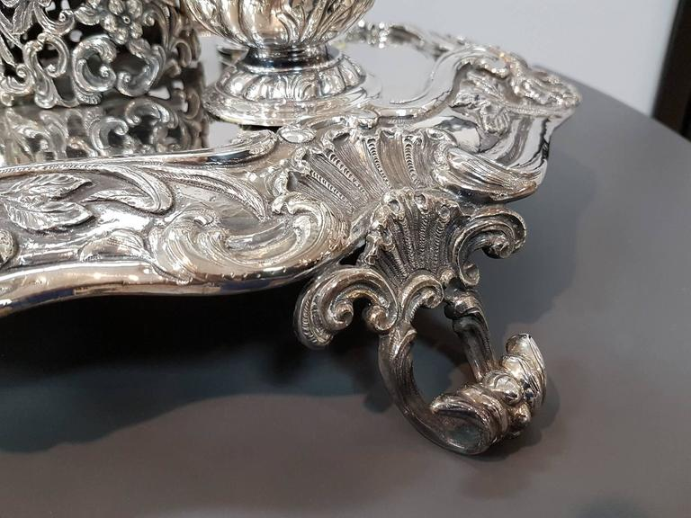 Baroque 20th Century Italian Sterling Silver Inkstand, baroque revival made in Italy For Sale