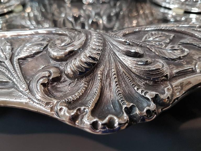 20th Century Italian Sterling Silver Inkstand, baroque revival made in Italy In Excellent Condition For Sale In VALENZA, IT