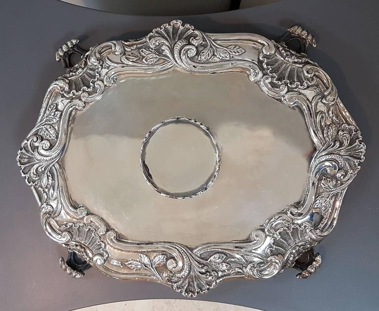 20th Century Italian Sterling Silver Inkstand, baroque revival made in Italy For Sale 4