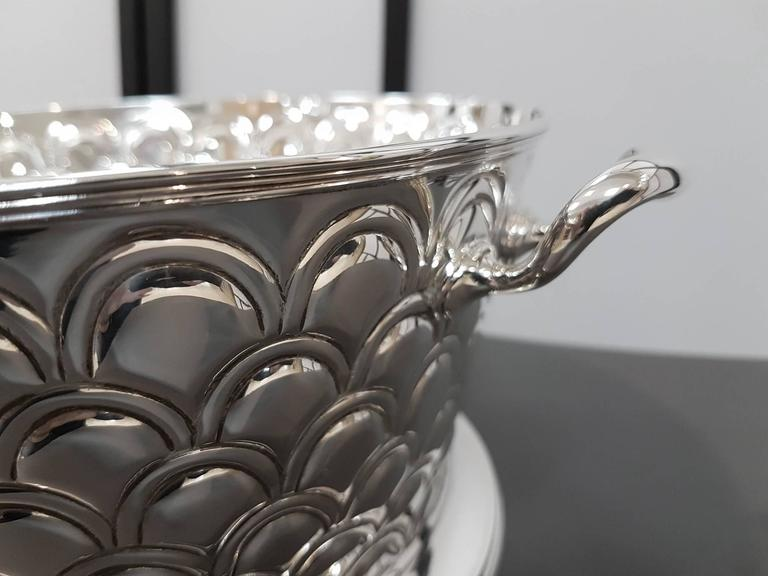 Other 20th Century Italian Silver Round basket with handles. Handicraft made in Italy For Sale