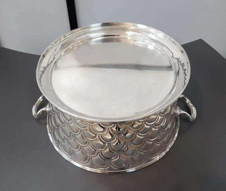 20th Century Italian Silver Round basket with handles. Handicraft made in Italy For Sale 3