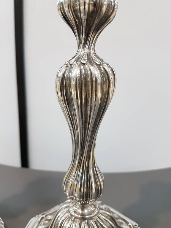 20th Century Sterling Silver Italian Candlesticks Baroque Barocco replica In Excellent Condition For Sale In VALENZA, IT