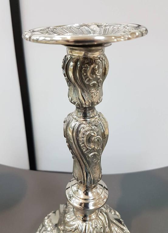 Embossed 20th Century Pair of Italian Silver Candlesticks Torretta fron Genoa revival For Sale