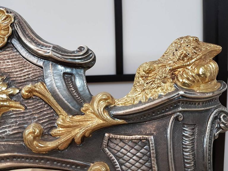 Baroque 20th Century Sterling Silver Italian Barocco revival Table Mirror For Sale