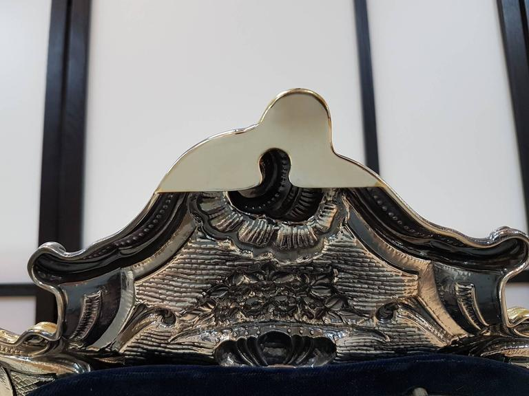 20th Century Sterling Silver Italian Barocco revival Table Mirror For Sale 2