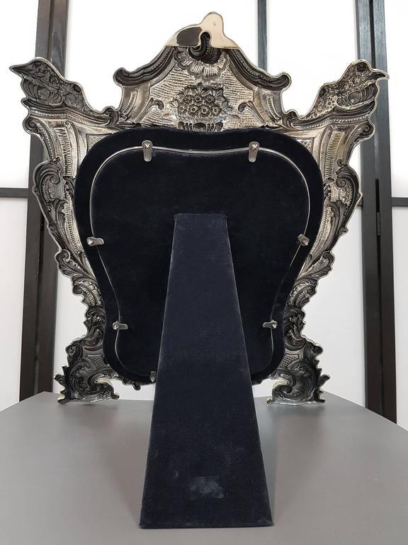 20th Century Sterling Silver Italian Barocco revival Table Mirror For Sale 3
