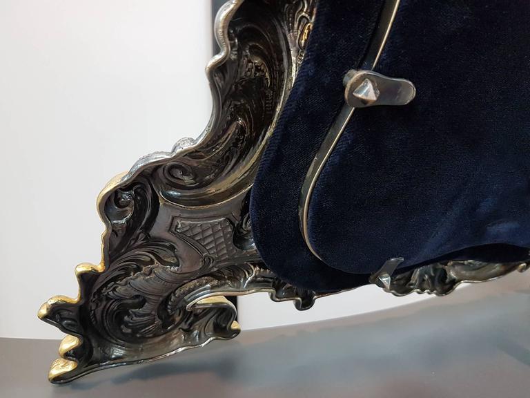 20th Century Sterling Silver Italian Barocco revival Table Mirror For Sale 5