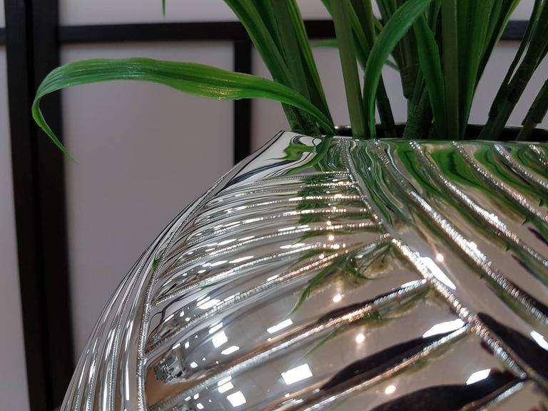 Modern 20th Century Italian Silver Globe Vase, ceased and embossed by hand.  For Sale