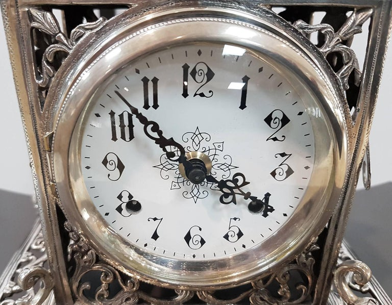 Late 20th Century 20th Century Italian Silver Gothic revival Table Clock. Casting and chisel For Sale