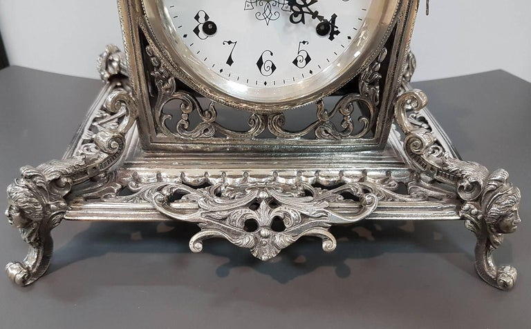20th Century Italian Silver Gothic revival Table Clock. Casting and chisel For Sale 1