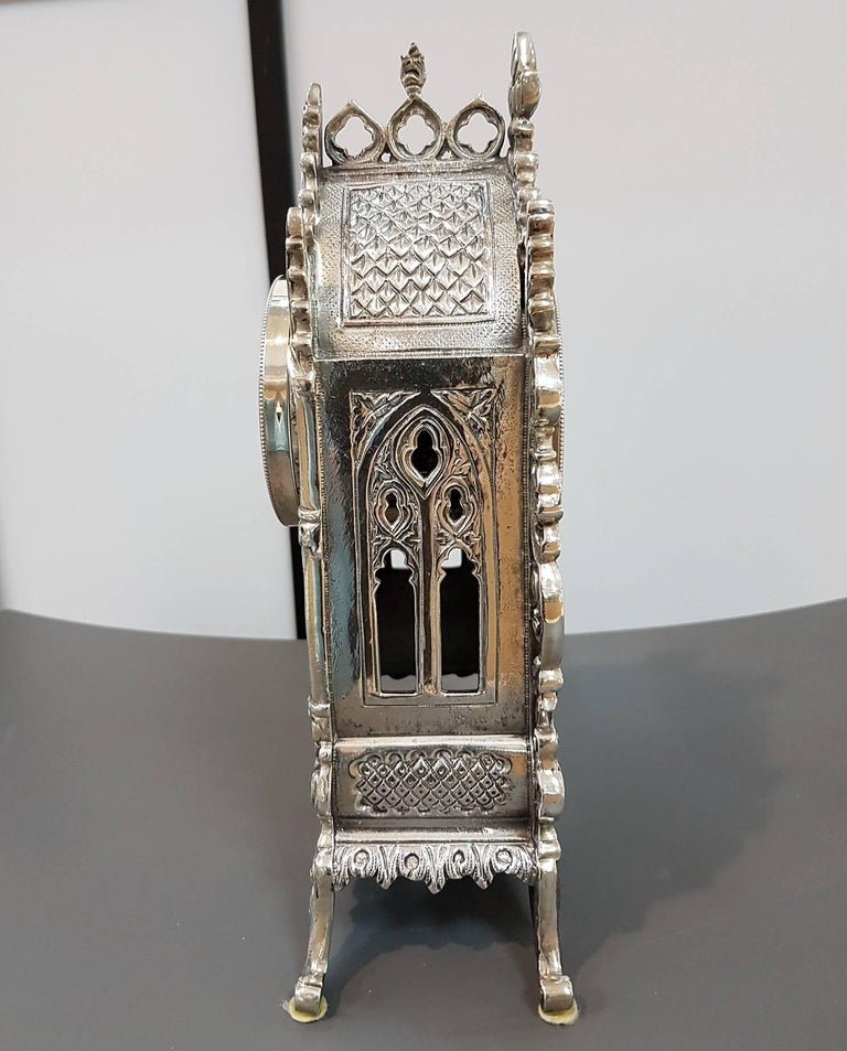 Gothic Revival 20th Century Italian Gothic revival Silver Table Clock For Sale