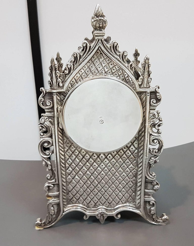 Molded 20th Century Italian Gothic revival Silver Table Clock For Sale