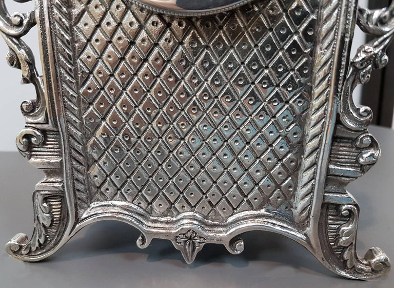20th Century Italian Gothic revival Silver Table Clock For Sale 3