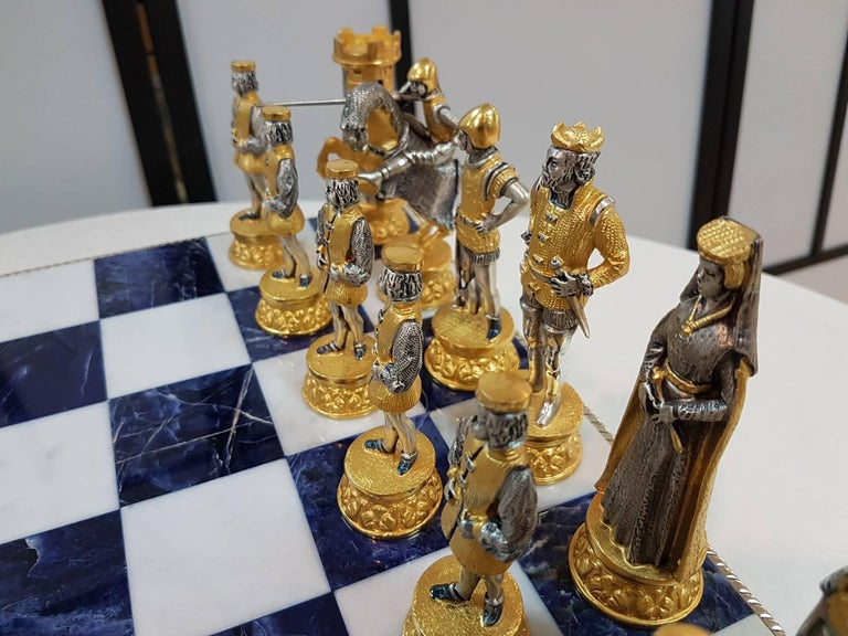 Cast 20th Century Italian Sterling Silver Chess Board, Chess Game blue lapis,marble  For Sale