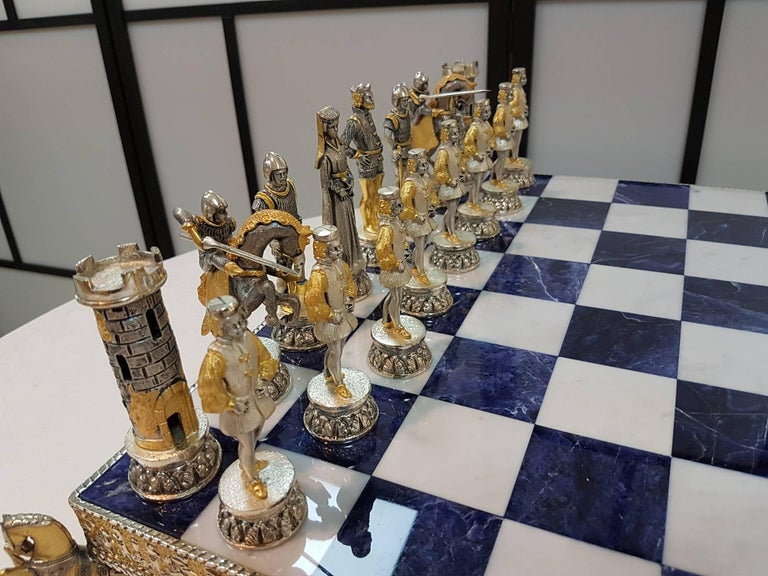 Mid-20th Century 20th Century Italian Sterling Silver Chess Board, Chess Game blue lapis,marble  For Sale