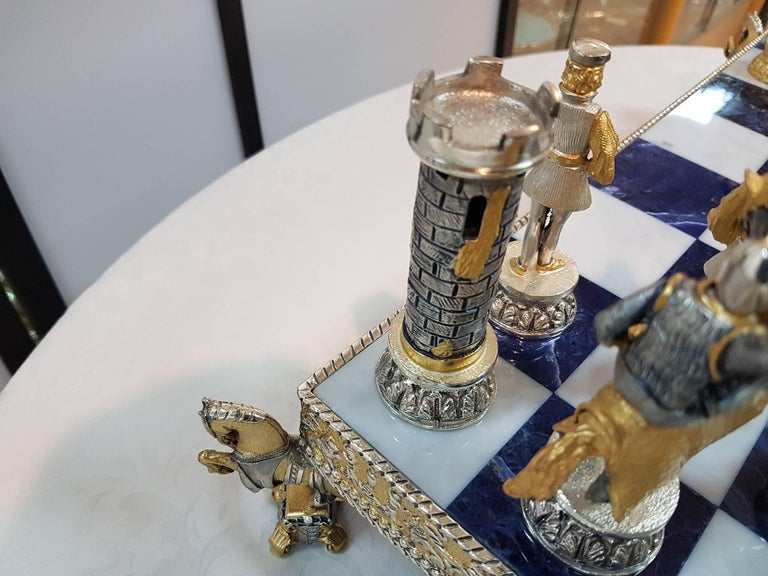 20th Century Italian Sterling Silver Chess Board, Chess Game blue lapis,marble  For Sale 1
