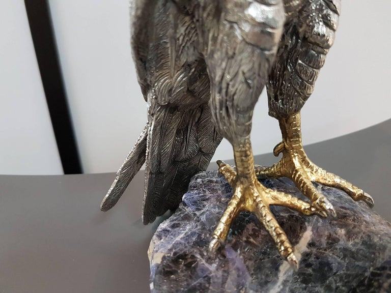 Other 20th Century Italian Sterling Silver Hawk on a Sodalite Stone For Sale