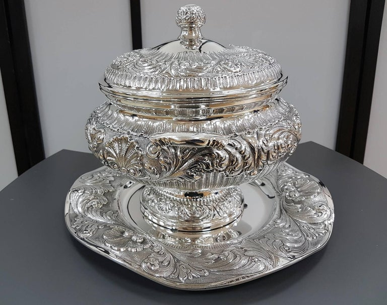 Embossed 20th Century Italian Stering Silver Baroque revival round Tureen plus dish For Sale